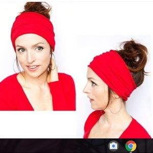 Accessories - Wide Hairband Head Wrap RED GRAY